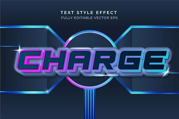 파란색 편집 가능한 기술 스타일 3d 텍스트 효과 충전