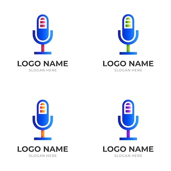 Charge microphone logo, microphone and battery, combination logo with 3d colorful style