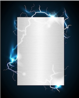 Charged silvery metal poster with lightnings on dark blue background