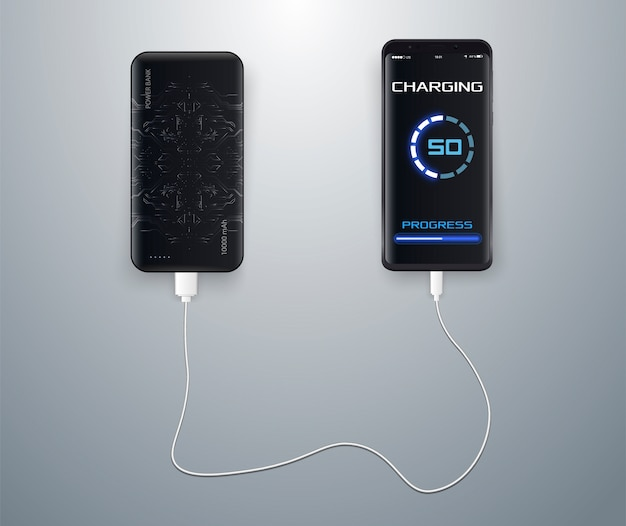 Charged wirelessly on a blue . wireless charging. wireless charging of the smartphone battery.