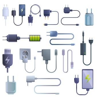充電器のアイコンセット、漫画のスタイル