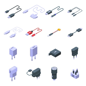 Charger icons set. isometric set of charger vector icons for web design isolated on white space