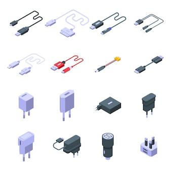 충전기 아이콘을 설정합니다. 흰색 공간에 고립 된 웹 디자인을위한 충전기 벡터 아이콘의 아이소 메트릭 세트