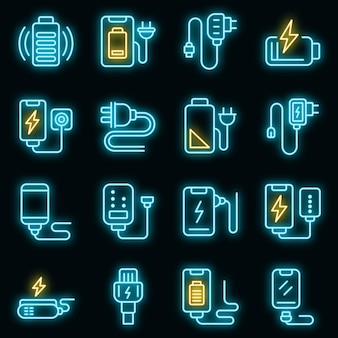 Charger icons set. outline set of charger vector icons neon color on black