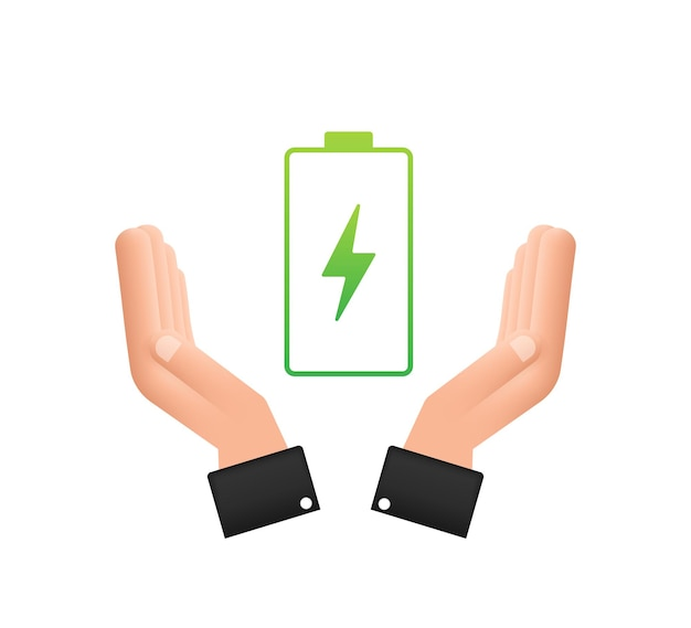 Charging battery with hands. set of battery charge level indicators. vector illustration.