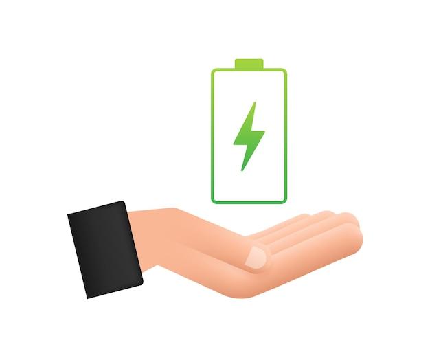手でバッテリーを充電します。バッテリー充電レベルインジケーターのセット。ベクトルイラスト。