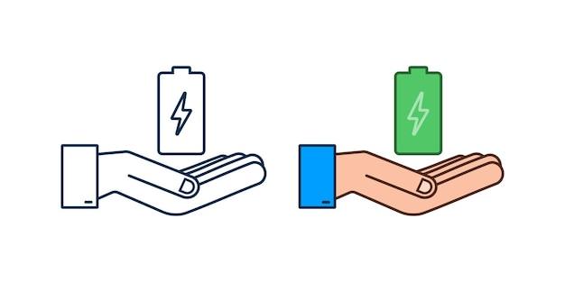 Зарядка аккумулятора руками. набор индикаторов уровня заряда аккумулятора. векторная иллюстрация.