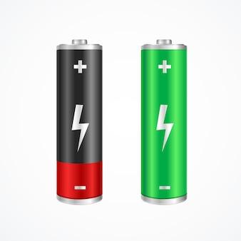 Концепция зарядки полная и разряженная батарея. зеленый и красный.