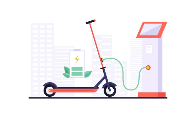 Charging electric scooter and touchpad displaying charging information