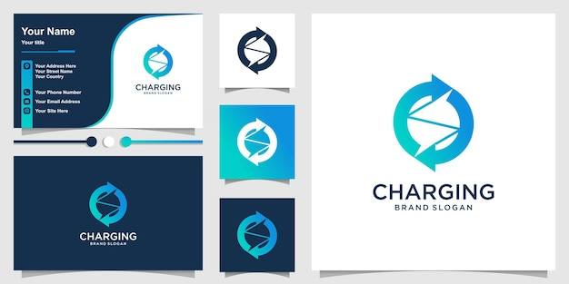 Charging logo with modern abstract concept and business card design premium vector