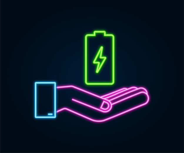 Charging neon battery with hands. set of battery charge level indicators. vector illustration.