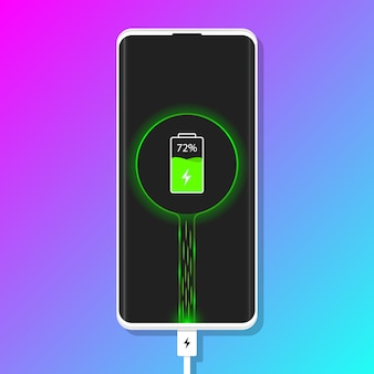 Charging phone. plugged phone vector illustration