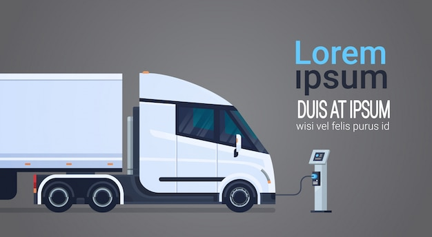 Charging semi truck with trailer at electic charger station banner with place for text