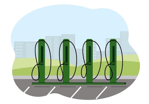 市内にある充電ステーションの電気自動車。ベクトルイラスト