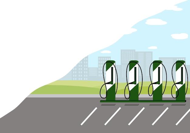 市内にある充電ステーションの電気自動車