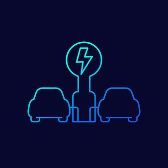 電気自動車の充電ステーション、evラインアイコン