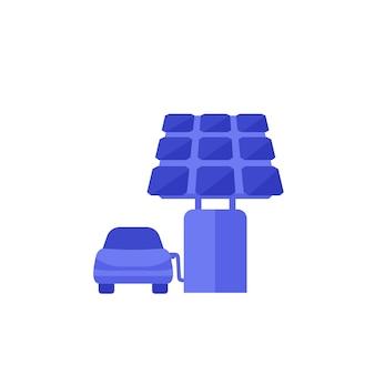 태양 전지 패널, 벡터 아이콘이 있는 전기 자동차용 충전 스테이션