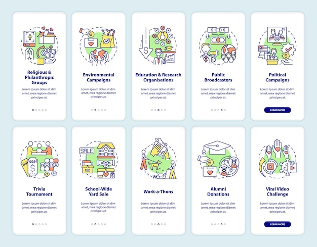 Charitable donations onboarding mobile app page screens set. fundraising ideas walkthrough 5 steps graphic instructions with concepts. ui, ux, gui vector template with linear color illustrations