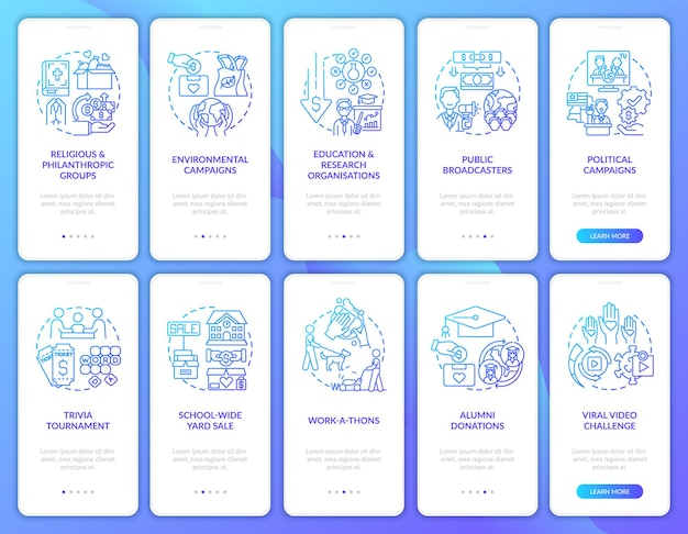 Charitable financial support onboarding mobile app page screens set. fundraising walkthrough 5 steps graphic instructions with concepts. ui, ux, gui vector template with linear color illustrations