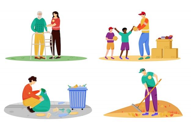 Благотворительные мероприятия плоские иллюстрации набор. самоотверженные волонтеры, молодые активисты выделяют героев мультфильмов. уход за пожилыми людьми, пожертвование детского дома, уборка мусора и общественные работы