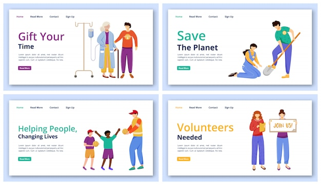 Charity activities landing page  templates set. volunteering website ui idea with  illustrations. community services homepage layout. people and ecology care web  cartoon concept
