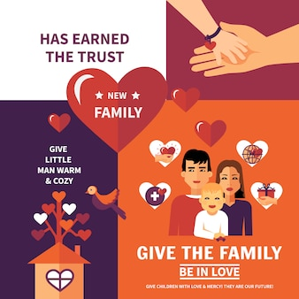 Charity adoption flat banners composition design