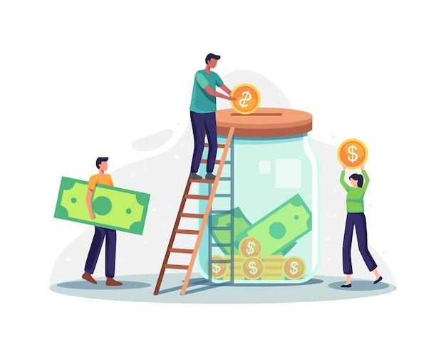 Благотворительность и денежные пожертвования. персонаж крошечных людей кладет деньги в огромную стеклянную банку для пожертвования. мужской персонаж стоит на лестнице бросает монеты, концепция сбора средств. векторная иллюстрация в плоском стиле