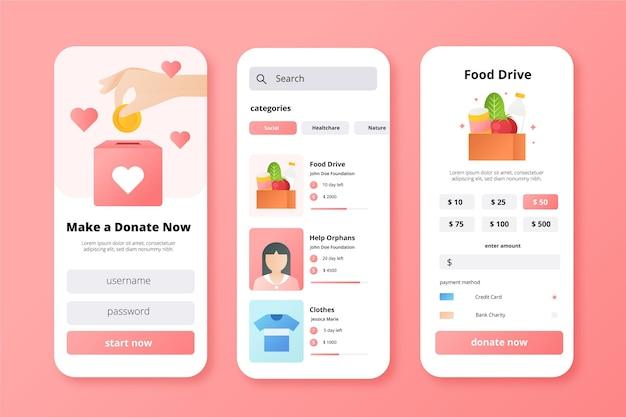 Concetto di app di beneficenza