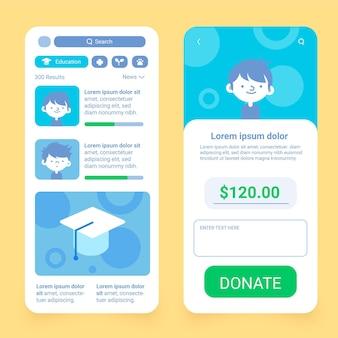 Schermate delle app di beneficenza