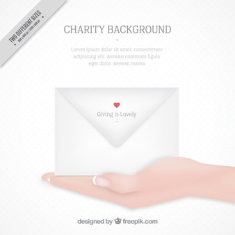 Charity background with an envelope