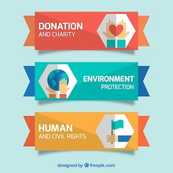 Благотворительный набор баннеров в плоском дизайне