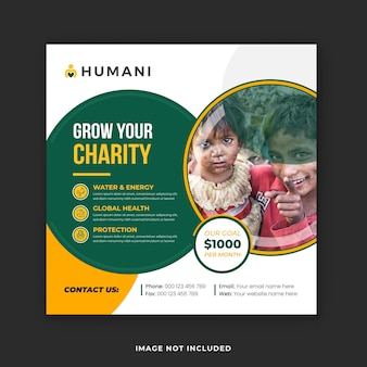 Charity campaign social media banner and instagram post