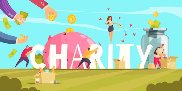 Charity composition with outdoor landscape and conceptual  of human hands money coins donated items boxes  illustration