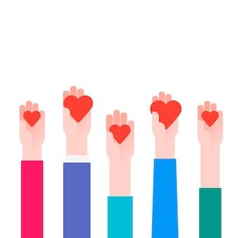 Концепция благотворительности. донатор держит сердце в руках. векторная иллюстрация плоский дизайн. изолированные на белом фоне. плакат волонтера. человеческая помощь. здравоохранение.