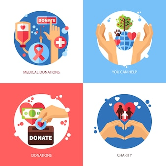 Charity concept icons set