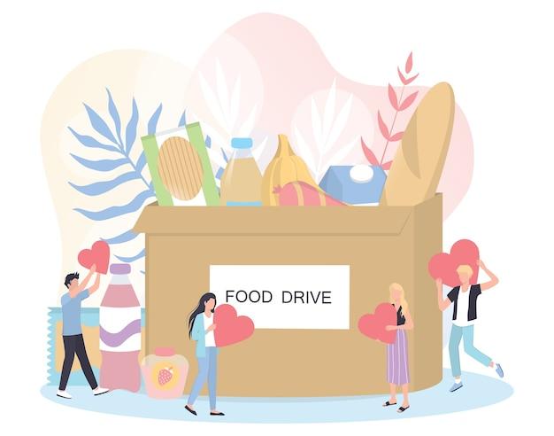 慈善の概念。人々は貧しい人々を助けるために食料を寄付します。寄付をして愛を分かち合いましょう。フードドライブのコンセプト。人道主義のアイデア。図