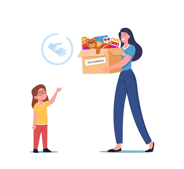 Charity concept, woman giving carton donation box with toys to orphan kid, social help to children, female volunteer character caring altruistic aid to poor kids. cartoon people vector illustration