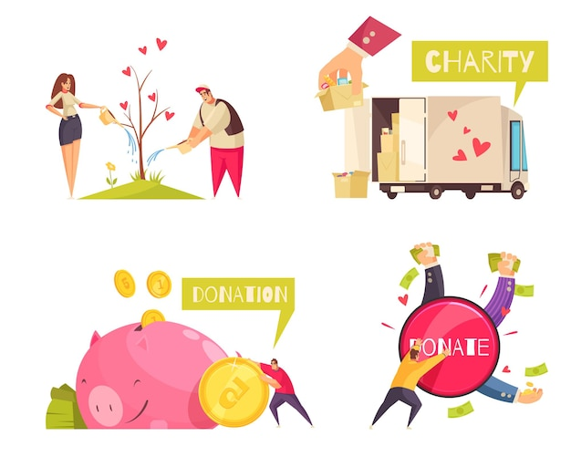 Charity design concept with  of money coins with donated items and human characters with text  illustration