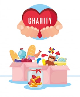 食料品やおもちゃが入った慈善募金箱