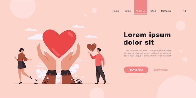 Charity and donation concept landing page in flat style