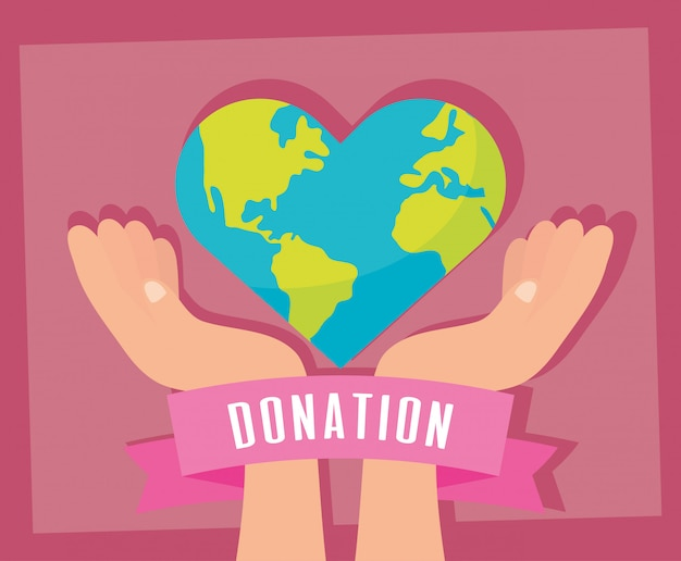 Charity donation earth planet with heart shape