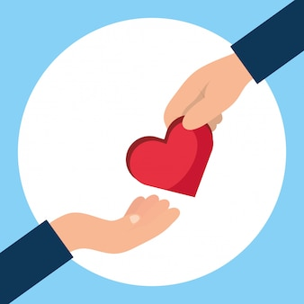 Charity donation hands giving heart