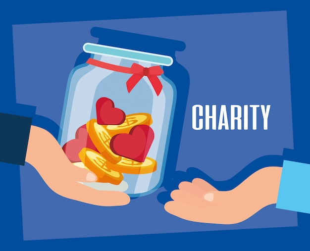 Charity donation hands giving jar with hearts and coins