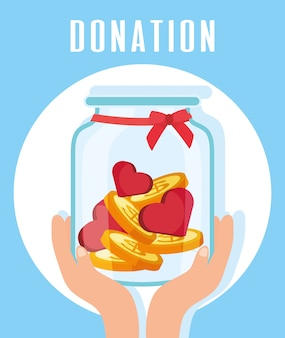 Charity donation hands lifting jar with hearts and coins