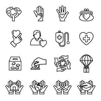 Charity and donation icon set with white background.