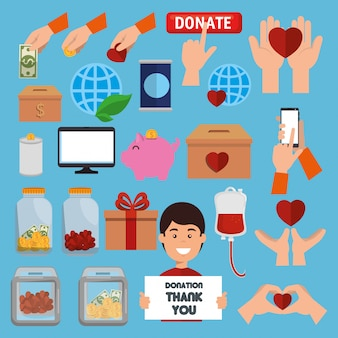 Charity donation icon set