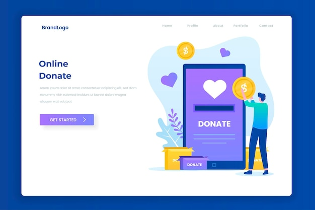 Charity donation illustration landing page concept
