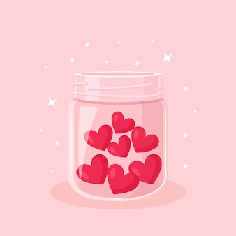 Charity, donation, volunteering and generous social community. red hearts in a glass jar. give and share your love, hope, support to people