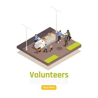 Charity donation volunteering isometric illustration with editable text read more button and outdoor food sharing composition