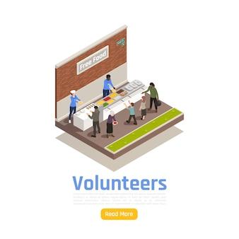 Illustrazione isometrica di volontariato di donazione di beneficenza con volontari che condividono cibo con senzatetto con testo e pulsante